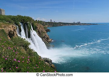 View from the Top of Duden Waterfall in Turkey at the...