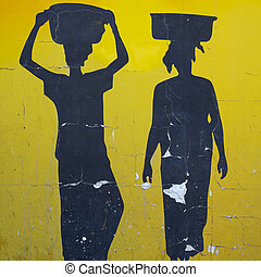 illustration of two African women silhouettes - Vintage...