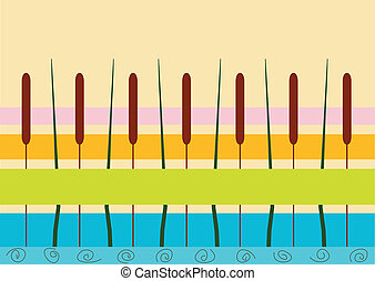 Cattail on a background varicoloured stripes - Cattail on a...