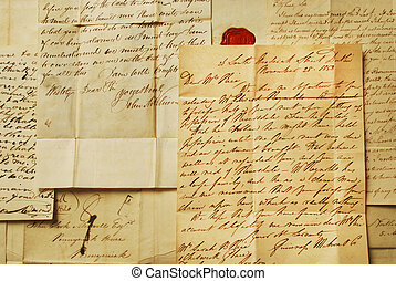 Old Letters Horizontal Close up