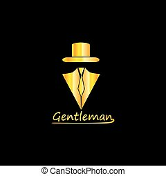 Golden Gentleman Logo Silhouette, EPS8, Vector, Illustration