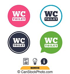WC Toilet sign icon. Restroom symbol. - WC Toilet sign icon....