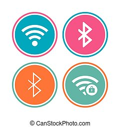Wifi and Bluetooth icon. Wireless mobile network. - Wifi and...