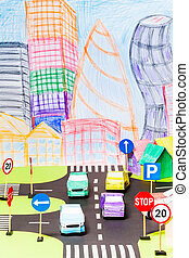 Road traffic at the toy city with signs and cars - Road...