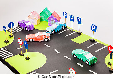 Playing set with crosswalks, parking and cars - Top view of...