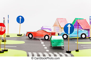 Paper model of busy crossings in toy city - Picture of...
