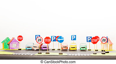Play set of road signs and paper cars models - Picture of...