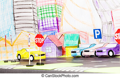 Road traffic in the toy city with parking and cars - Picture...