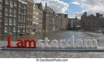 View of small plastic figure of Iamsterdam letters sculpture...