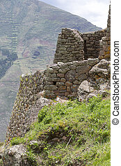 Ruins of Pisac in Urubamba valley near Cusco, Peru - Details...