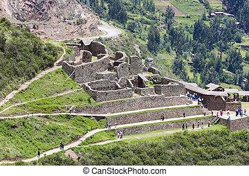 Ruins of Pisac in Urubamba valley near Cusco, Peru - PISAC,...