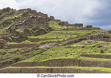 Ruins of Pisac in Urubamba valley near Cusco, Peru - Inca...