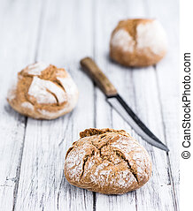 Fresh made Wholemeal Roll - Wholemeal Roll on a vintage...