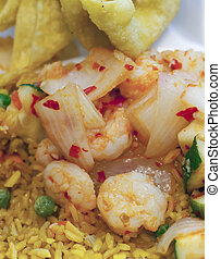Takeout - Hot and spicy shrimp over fried rice