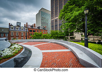 The Massachusetts Law Enforcement Memorial, in Beacon Hill,...