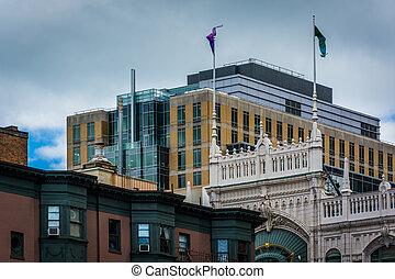 Tops of buildings in Back Bay, Boston, Massachusetts.