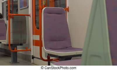 View of empty seat place in subway train, Prague, Czech...