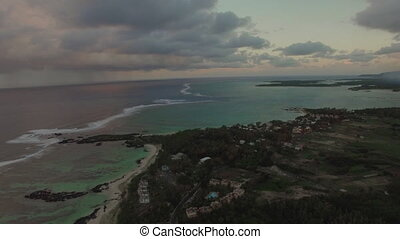Aerial panorama of Mauritius Island and Indian Ocean -...