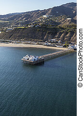 Aerial of Malibu Pier Near Los Angeles in Southern...