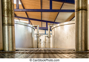 Fermentation containers - Horizontal photo in color and...