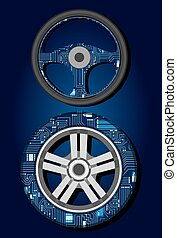 Steering wheel and tire with electronic circuit