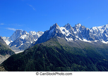 View of the Mont-Blanc massif mountain, France