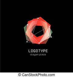 Unusual abstract geometric shapes vector logo. Circular,...
