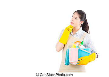 woman thinking looking at copy space