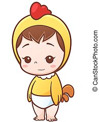 Baby - Vector Illustration of Cartoon Baby Little Chick...