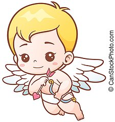 Cupid - Vector illustration of Cute Cupid with arrows and...