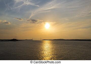 Sunset on the Orinoco River, Ciudad Bolivar, Venezuela -...