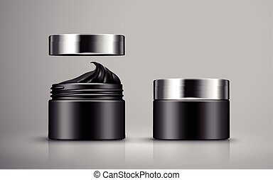 charcoal detoxifying mask contained in two black jars, 3d...