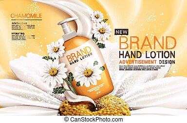 chamomile hand lotion contained in a bottle with flower and...