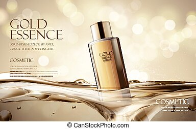 gold essence ad - essence contained in black bottle, with...