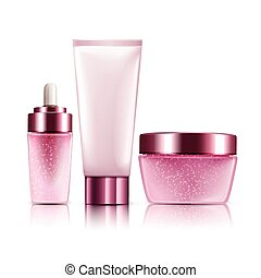 pink cosmetic containers