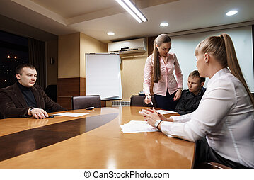 Business meeting at company office early morning - Business...