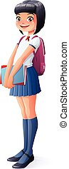 Vector cute Asian young school student girl standing with books.