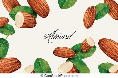 almond and leaf elements, can be used as natural background,...