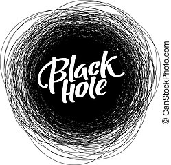 Round scribble vector frame with Black Hole text