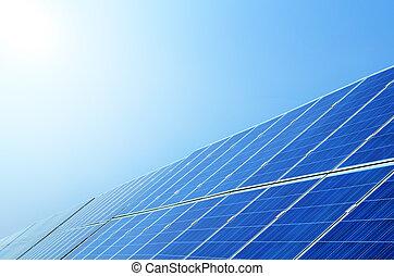 Solar panels under sky,China