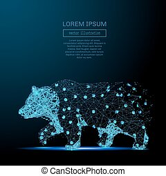 Bear low poly wireframe blue - Abstract image of a bear in...