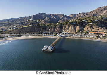 Malibu Pier Aerial with Pacific Ocean and Santa Monica Mountains