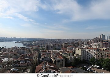 Panoramic View at the Golden Horn and Beyoglu, in Istanbul, Turkey