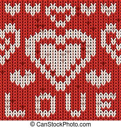 St Valentines day knitted heart pattern. Knit texture...
