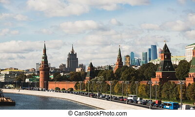 Tiltshift Timelapse view of historical center Moscow center...
