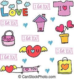 Doodle of love bag flower