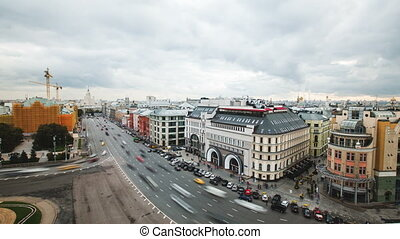 Timelapse view of historical center Moscow center with car...