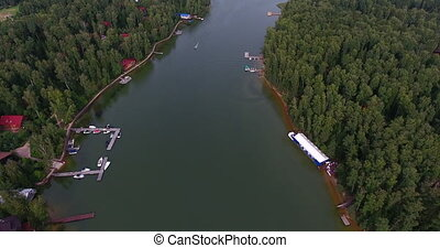 Flying over the beautiful river Aerial camera shot panorama...
