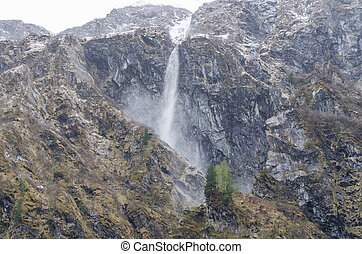 small avalanche in the mountains