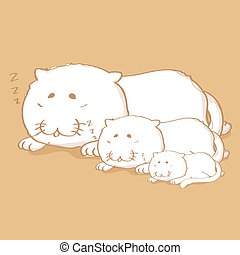 Three cat sleeping cartoon character design on light brown color background